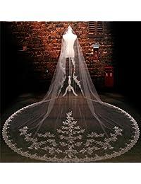 シュウクラブ- 花嫁のヘッド糸韓国のレースレースロング3.5メートル後ろダイヤモンド結婚式のベール