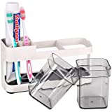 Funly mee Toothpaste Stand Holder with 2 Cups Bathroom Storage Organizer,Toothbrush Stand 4 Slots for Electric Toothbrush, To