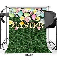wolada 5x 7ft Happy Easter写真背景幕グリーンGrass写真背景カラフルな卵Studio Backdrop 10952