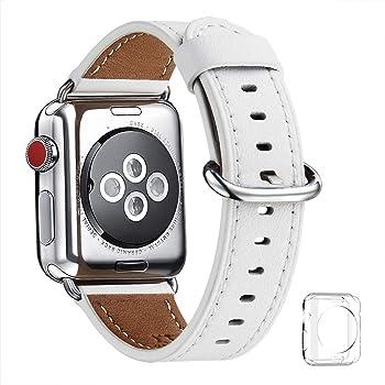 WFEAGL コンパチブル Apple Watch バンド,は本革レザーを使い、iWatch Series4/3/2/1、Sport、Edition向けのバンド交換ストラップです コンパチブル アップルウォッチ バンド (38mm 40mm, ホワイト バンド+シルバー バックル)