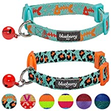 Blueberry Pet Pack of 2 Cat Collars, Hunting Expedition with Fish Bone and Leopard Print Adjustable Breakaway Cat Collar with Bell, Neck 23cm-33cm