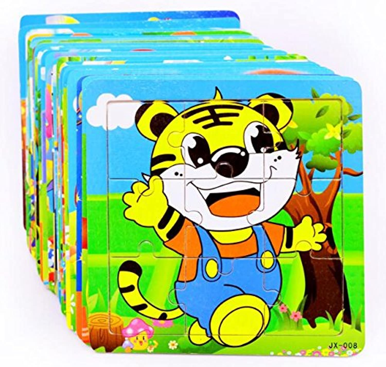 HuaQingPiJu-JP 子供のための木製の就学前の動物の認知的なパズルボード教育パズル