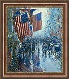 Childe Hassam Rainy Day Fifth Avenue Framedキャンバスジークレー印刷–Finishedサイズ(W) 27.4CM x (H) 31.4