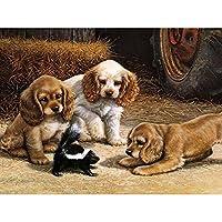 LovetheFamily 数字油絵 数字キット塗り絵 手塗り DIY絵 デジタル油絵 犬 シリーズ 40x50 cm ホーム オフィス装飾
