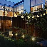 イルミネーション ライト 飾り 30LED ソーラー充電式ガーデンライト LEDストリングライト 2発光モード 夜間自動点灯 屋外 防水 耐熱 クリスマス 新年 結婚式 ボール型 全長6m(ウォームホワイト) Taotuo