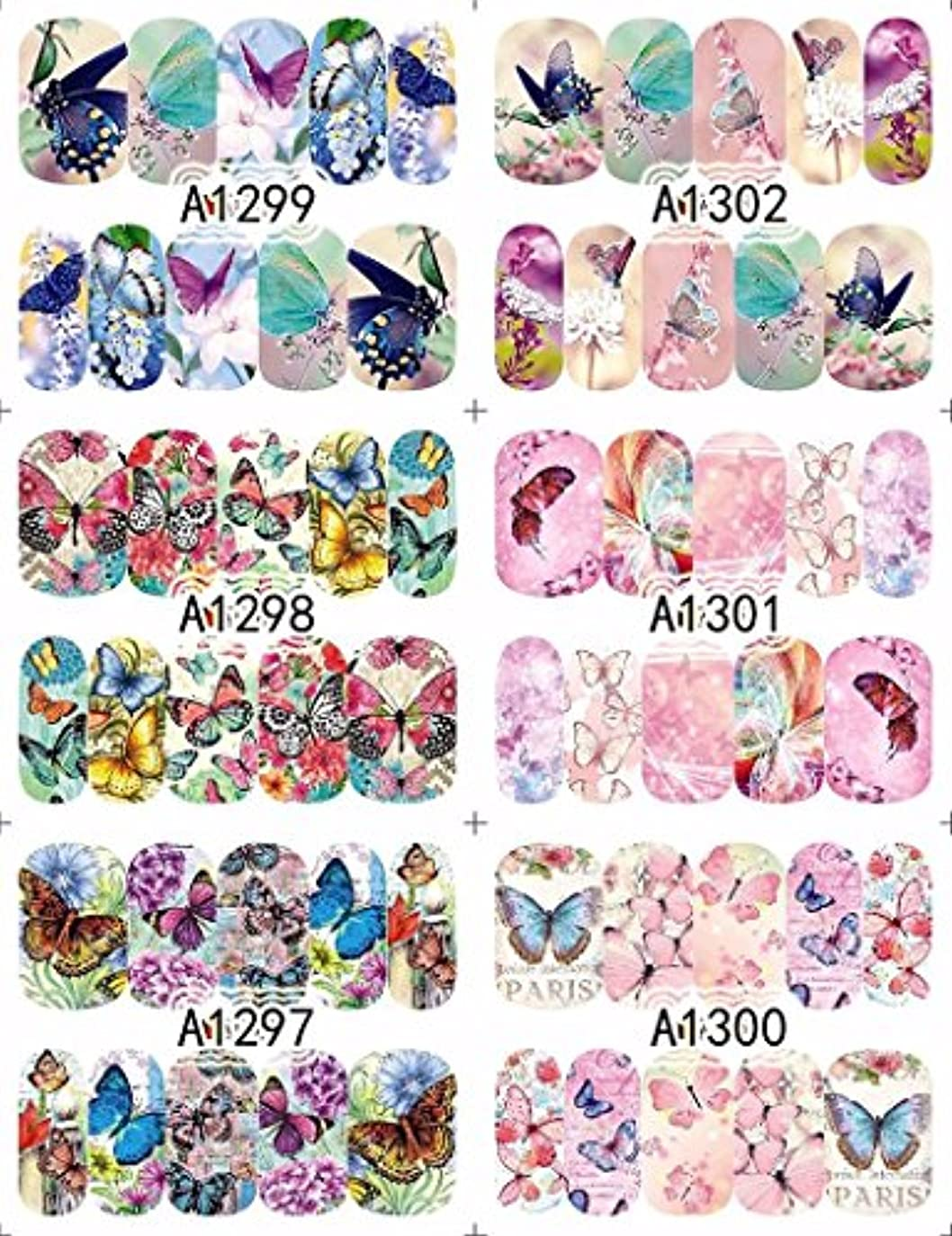 高度な脱獄ハード12 sheets water decal nail art nail sticker slider tattoo full Cover COLORFUL BUTTERFLIES Decals manicure supplies...