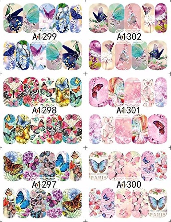 中国誤解するコミュニケーション12 sheets water decal nail art nail sticker slider tattoo full Cover COLORFUL BUTTERFLIES Decals manicure supplies...