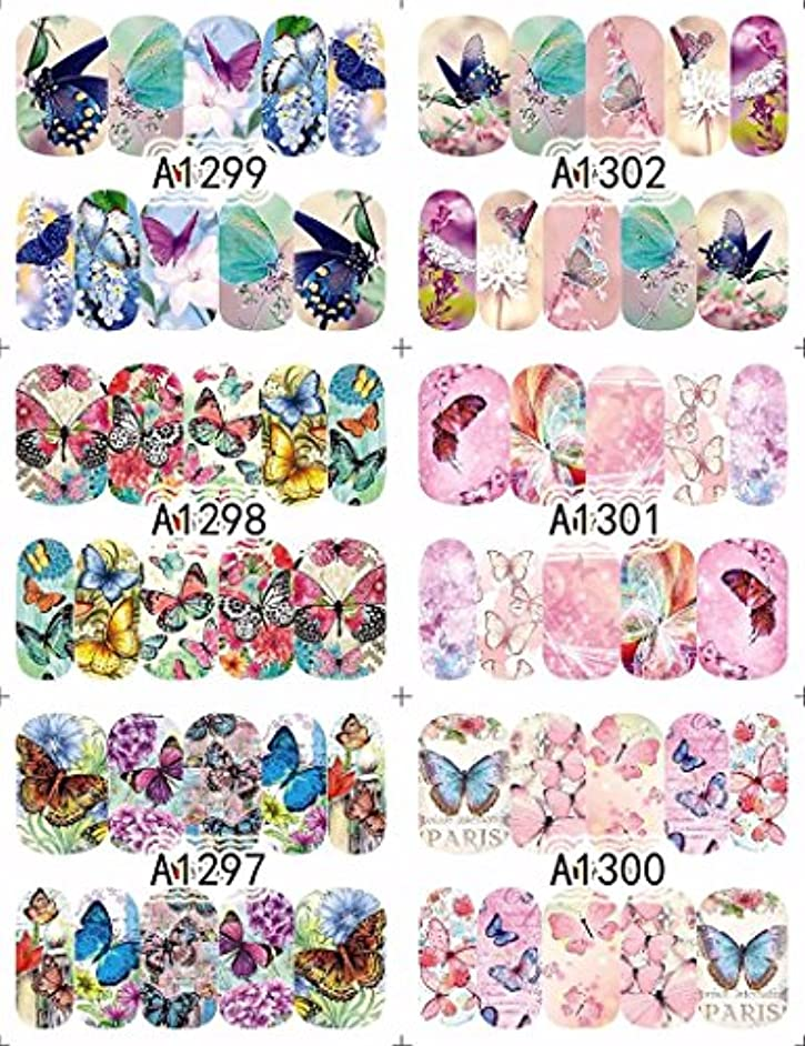 手配する探偵四12 sheets water decal nail art nail sticker slider tattoo full Cover COLORFUL BUTTERFLIES Decals manicure supplies...