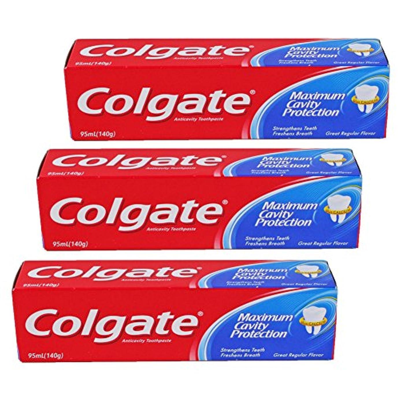 遺棄されたロッカー乳製品コルゲート Colgate MaximumCavityProtection (95mL)140g 3個セット [並行輸入品]