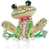Comelyjewel Frog Brooch Pins for Women Men, Enamel Rhinestone Colorful