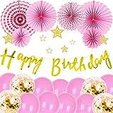 誕生日 飾り付け 装飾 バルーン バースデー デコレーション ペーパーファン セット HAPPY BIRTHDAY ゴールド紙吹雪入れ 風船(壁貼り両面シール) JM006P