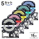 AOYI テプラ テープ キングジム テープカートリッジ テプラPRO 18mm 互換用 Tepra 白 赤 黄 青 緑 SS18K SC18R SC18Y SC18G SC18B 5本色組み合わせセット