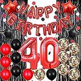 40歳の誕生日デコレーション 赤 ハッピーバースデー バナーバルーン 数字バルーン ペーパーガーランド 黒と赤のバルーン 紙吹雪バルーン 誕生日パーティーバルーン サプライ