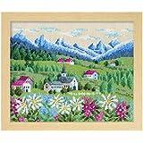 オリムパス製絲 クロスステッチ 刺しゅうキット フラワーガーデン 花の咲く風景 アルプス ベージュ 7309