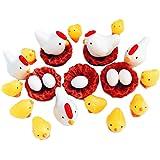 25PCS Miniature Garden Figurines - Fairy Garden Chicken Family Mini Animals for Micro Landscape/Dollhouse Miniatures/Bonsai O