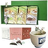 ねこ茶 ティーバッグ 敬老の日 ギフト セット 誕生日 プレゼント(深蒸し茶・ほうじ茶)お茶 お土産 可愛い 猫のフィギュア(2個)