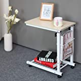 Rolling Height Adjustable Desk Sofa Side Table with Storage Small Laptop Table - White Maple
