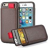 iPhone6 ケース iPhone6s ケース ZVE レザーケース カード収納 衝撃吸収 TPU × PC 2層構造 アイフォン6 6s専用 4.7 インチ(ブラウン)