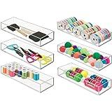 mDesign Stackable Drawer Organizer Storage Bin Tray - Holder Craft, Sewing, Hobby, Art Supplies in Home, Classroom Studio - D