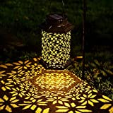 LeiDrail Solar Lantern Outdoor Garden LED Light Hanging Lanterns Metal Decorative Waterproof Landscape Lighting for Table Pat