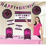 Amscan Themed Birthday Customizable Room Decorating Kit, Black/Pink [並行輸入品]