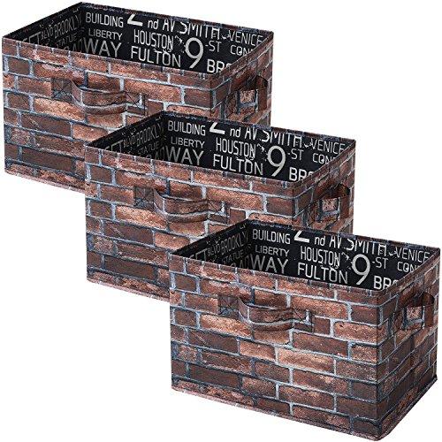 山善(YAMAZEN) どこでも収納ボックス 3個セット カラーボックス対応 ブラウンブリック YTCT-3P(BR)