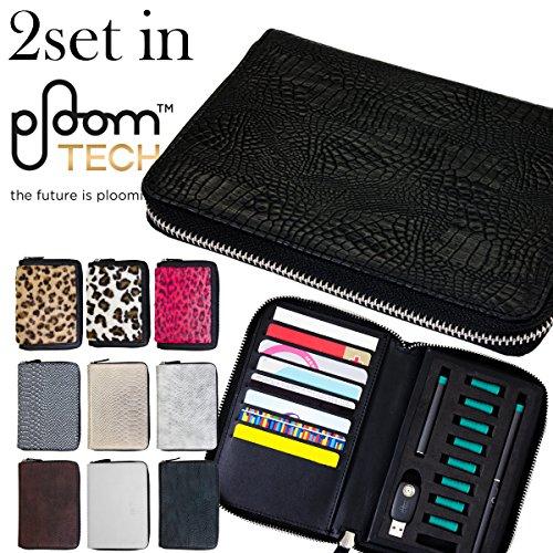 全10色 Ploom TECH プルームテック 専用 2セット 収納 ケース ラウンドファスナー カードホルダー付き (ピンクレオパード)