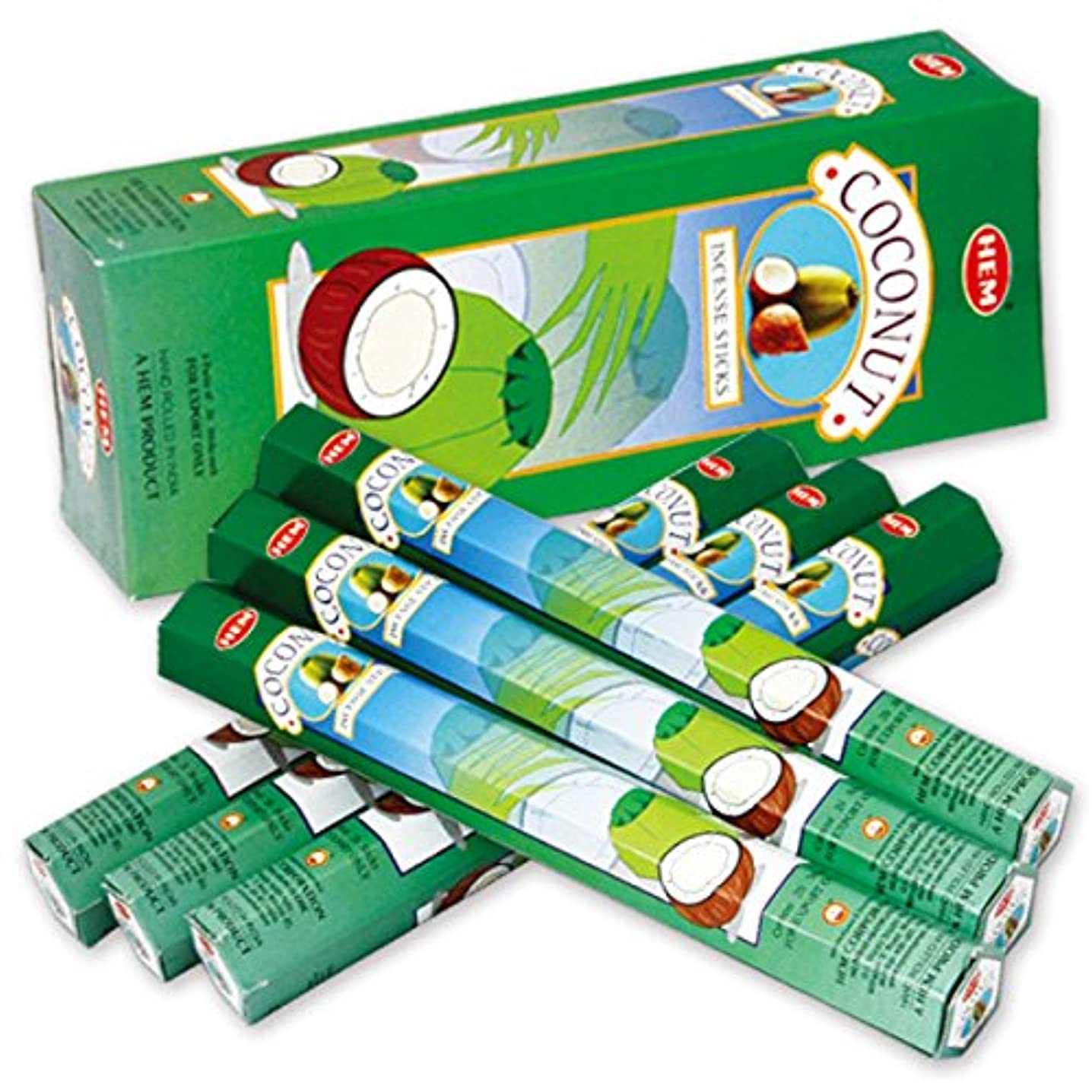 スロベニア高さブローホールHEM(ヘム) ココナッツ COCONUT スティックタイプ お香 6筒 セット [並行輸入品]
