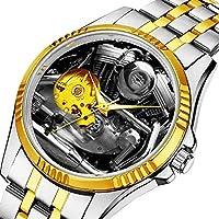メンズ自動機械式腕時計 高級ブランド カジュアルスポーツウォッチ 男性用パーソナリティダイヤル&クリアウィンドウ836.オートバイエンジンクラシックステンレススチールウォッチ