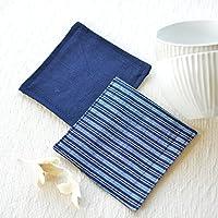 会津木綿のコースター2個セットF【クリックポストにて発送】