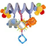 Leorx Spiral Toy, Stroller Toy, Bed Hanging Toys, Baby Car Seat Toy With Mirror And Bell