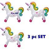 """(Set of 3) Rainbow Unicorn - 24"""" Inflatable Unicorns"""