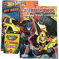 TransformersとホットWheelsカラーリングブック( Pack of 2 Plus 24 Pc Crayolaクレヨン)
