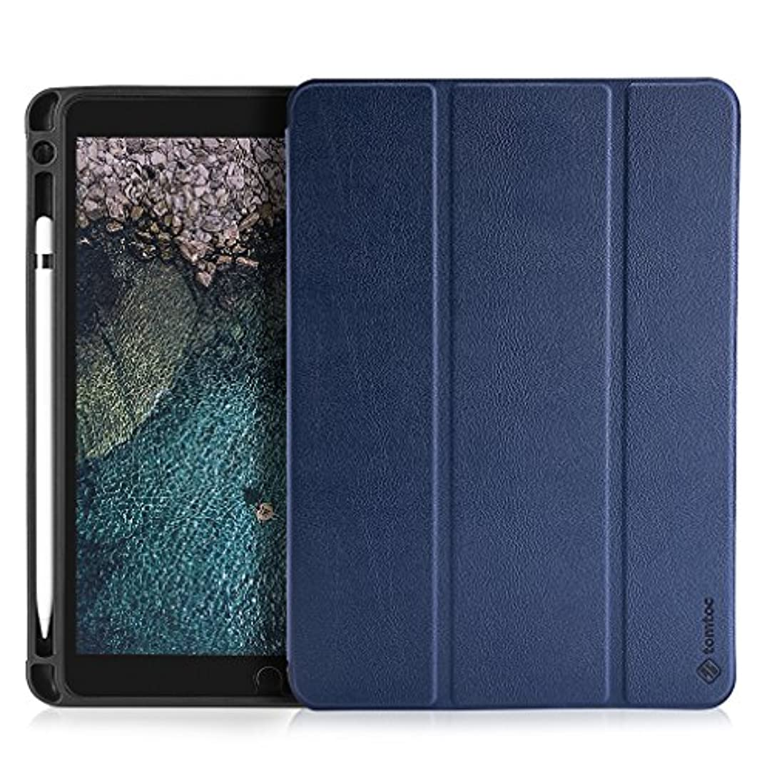 発行する入手します後退するtomtoc iPad Pro 10.5 専用 ケース Apple Pencil 収納 保護カバー 傷つけ防止 PU レザー 三つ折タイプ スタンド オートスリープ スマートカバー ペンホルダー付き ブルー