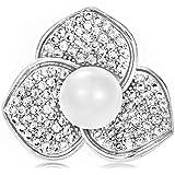 WeimanJewelry Elegant Cubic Zirconia CZ Pearl Rose Flower Lapel Pin for Women