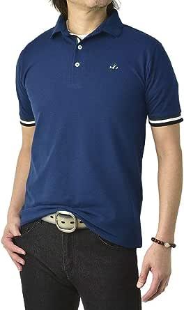 (フラグオンクルー) FLAG ON CREW ゆうパケット発送 メンズ 衿裏 カラー配色 スタンドカラー ワンポイント 刺繍 半袖 ポロシャツ / A5Q