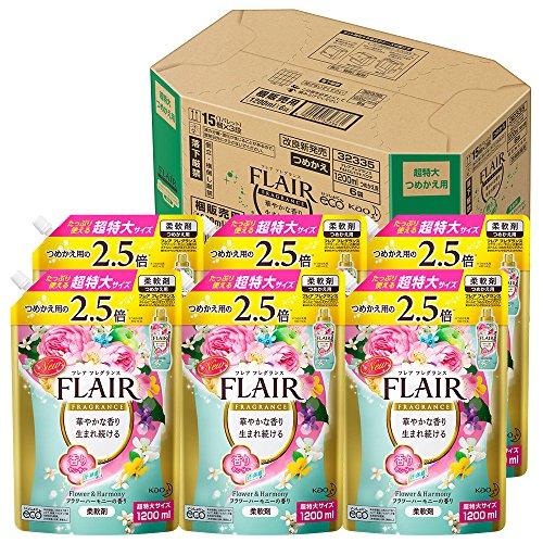【ケース販売】フレアフレグランス 柔軟剤 フラワー&ハーモニーの香り 詰替用 大容量 1200ml×6個