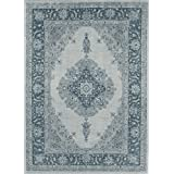 RUGGABLE Washable Indoor/Outdoor Stain Resistant Area Rug 2pc Set (Cover and Pad) Parisa Blue (152 x 213cm)