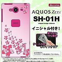 SH01H スマホケース AQUOS ZETA ケース アクオス ゼータ ソフトケース イニシャル 花柄・サクラ(B) ピンク nk-sh01h-tp184ini L