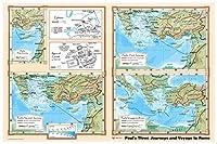 Paul 's Journeys and Voyage to Rome–Bible Christian壁マップポスター36x 24ラミネート