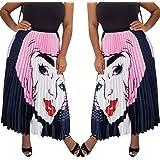 ECHOINE Women's Graffiti Pleated Skirts Cartoon Printed Elastic Waist A-Line Maxi Long Summer Skirt