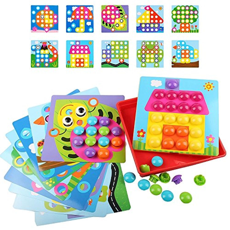 NextX B221 ボタンブロック パズル 創造力を育てる赤ちゃん知育玩具 女の子男の子おもちゃ 子供キッズ向け