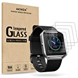 (Pack of 4) Tempered Glass Screen Protector for Fitbit Blaze Smart Watch, Akwox [0.3mm 2.5D High Definition 9H] Premium Clear