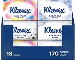 KLEENEX Everyday Facial Tissues, (170 sheets per box, 18 boxes per case). Designs may vary
