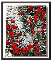 ARTomo【アトモ】パズル油絵『フレーム付き』数字 油絵 DIY 塗り絵 本格的な油絵が誰でも簡単に楽しく描ける 40x50cm【紅花グリーンリーフ】