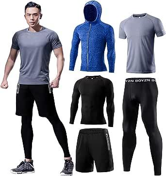 スポーツウェア メンズ コンプレッションウェア セット 吸汗 速乾 トレーニングウェア 長袖 半袖 ランニングウェア 姿勢矯正 メンズ ジャージ 上下セット 5点セット グレー Gray-5P-M