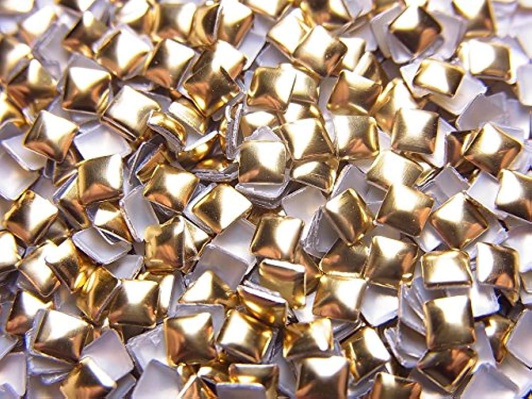 つかいます輸送アルミニウム【jewel】スクエア型(正方形)メタルスタッズ 3mm ゴールド 約100粒入り