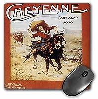 3drose LLC 8x 8x 0.25インチマウスパッド、シャイアンSong Woman Riding A Galloping Horse (MP 169966_ 1)