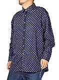 長袖シャツ メンズ 大きいサイズ ドット 水玉 フェイクタイ ドットシャツ 日本製 国産 4L ネイビー