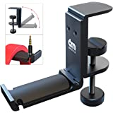6amLifestyle [2020 Newest Version] Foldable Headphone Stand Hanger Under Desk Clamp with Cable Organizer Save Space Metal Hea